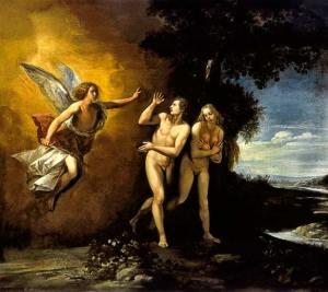 """""""גירוש מגן העדן"""" לגיוספה צ'זסרה (כ-1620). הדעת הביאה להסתרת הגוף"""