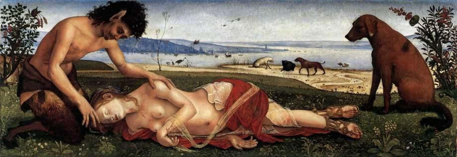 """""""מותה של פרוקריס"""", 1495. פיירו די-קוסימו. פאון כואב את מותה של אשתו הנימפה, שגרם לו בטעות. לציור, המוצג בגליה המלכותית בלונדון, נודעו משמעויות אלכימיות, בהן התגברות החומר על המוות"""
